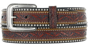 Tony Lama Men's Jagged Rail Western Leather Belt, Tan, hi-res