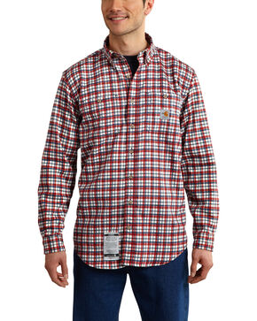 Carhartt Men's Flame Resistant Dark Red Classic Plaid Shirt, Dark Red, hi-res