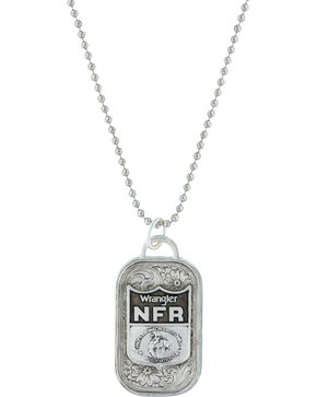Montana Silversmiths 2016 WNFR Classic Token Dog Tag Necklace with NFR Shield, Silver, hi-res