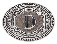 "Montana Silversmiths Men's Initial ""D"" Two-Tone Attitude Belt Buckle, , hi-res"