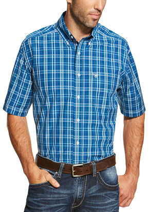 Ariat Men's Blue Short Sleeve Derek Shirt, Blue, hi-res