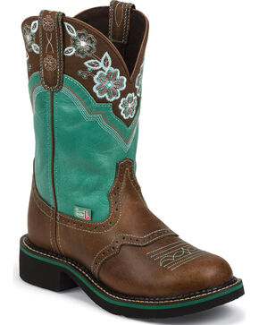 Justin Turquoise Pattern Gypsy Cowgirl Boots - Round Toe  , Tan, hi-res