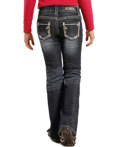 Rock and Roll Cowgirl Girls' Aztec Pocket Jeans - Boot Cut , , hi-res