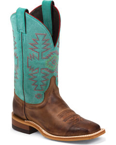 Justin Bent Rail Teal Cowhide Cowgirl Boots - Square Toe, , hi-res
