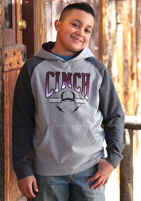 Cinch Boys' Heather Grey Logo Hoodie , Hthr Grey, hi-res