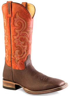 Old West Men's Orange and Brown Western Boots - Square Toe , , hi-res