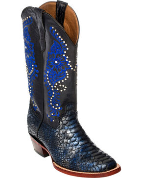 Ferrini Navy Python Print Cowgirl Boots - Square Toe, Navy, hi-res