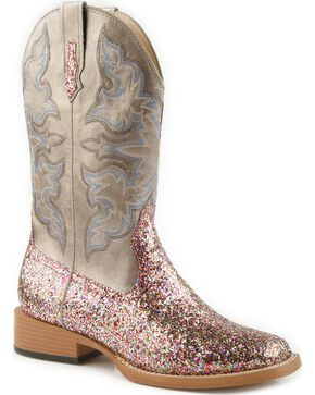 Roper Multi Glitter Cowgirl Boots - Square Toe, Grey, hi-res