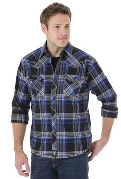 Wrangler Rock 47 Men's Blue & Black Plaid Snap Shirt, , hi-res