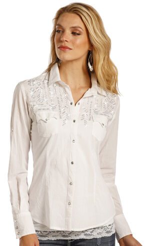 Panhandle Slim Women's Metallic Embroidered Shirt, Ivory, hi-res