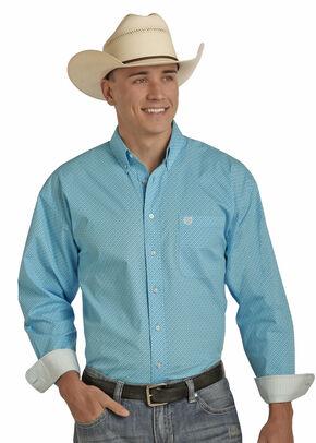 Panhandle Men's Peached Cotton Print Shirt - Big and Tall , Blue, hi-res