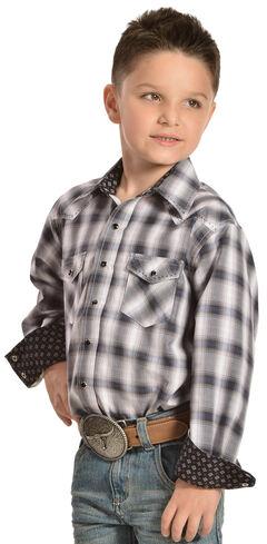 Red Ranch Boys' Blue Plaid Contrasting Stitch Shirt , , hi-res