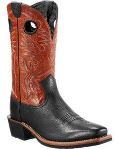 Ariat Heritage Rough Stock Black Boots - Wide Square Toe, Black, hi-res
