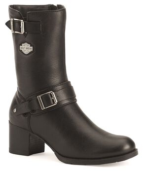 Harley Davidson Serita Women's Zipper Harness Boots, Black, hi-res