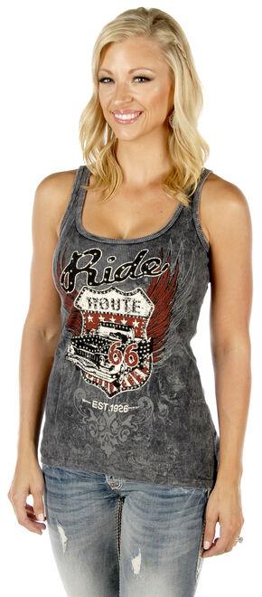 Liberty Wear Women's Route 66 Tank Top - Plus, Grey, hi-res