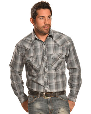 Crazy Cowboy Men's Grey Plaid Heavy Stitch Western Shirt , Black, hi-res