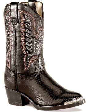 Durango Youth Boys' Lizard Print Boots, Black, hi-res