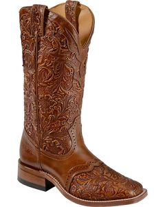Boulet Hand Tooled Belmont Cowgirl Boots - Square Toe, , hi-res