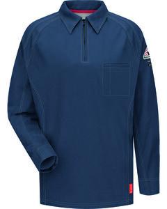 Bulwark Men's Dark Blue iQ Series Flame Resistant Long Sleeve Polo , , hi-res
