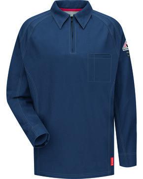 Bulwark Men's Dark Blue iQ Series Flame Resistant Long Sleeve Polo - Big & Tall , Dark Blue, hi-res
