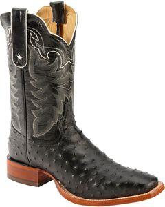 Tony Lama San Saba Black Full Quill Ostrich Cowboy Boots - Square Toe, , hi-res