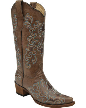 Circle G Women's Fleur-de-Lis Cowgirl Boots - Snip Toe, Brown, hi-res