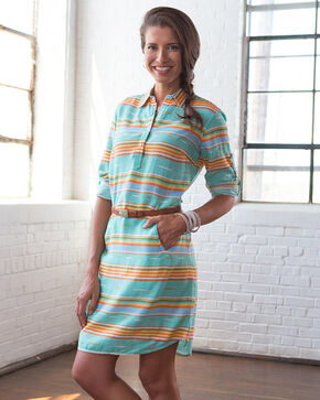 Ryan Michael Women's Serape Stripe Dress, Seafoam, hi-res