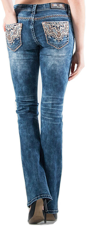 Grace in LA Easy Fit Bootcut Lattice Scroll Jeans , Indigo, hi-res