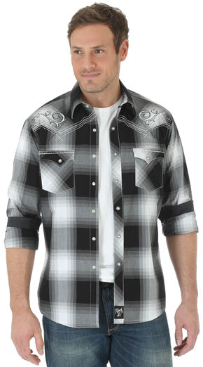 Wrangler Rock 47® Men's Black Embroidered Yoke Long Sleeve Plaid Shirt , Black, hi-res