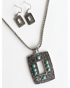 West & Co. Women's Turquoise Stone Square Cutout Jewelry Set, Silver, hi-res