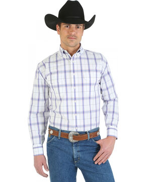 Wrangler George Strait Collection Purple and White Plaid Western Shirt, White, hi-res