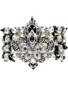 Blazin Roxx Beaded Fleur-de-lis Stretch Bracelet, , hi-res