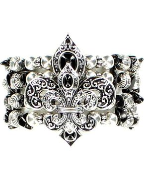 Blazin Roxx Beaded Fleur-de-lis Stretch Bracelet, Black, hi-res