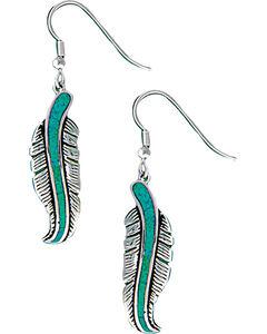 Montana Silversmiths Women's Storyteller Feather Dangle Earrings, , hi-res