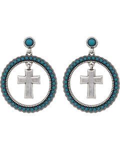 Wrangler Rock 47 Rocks and Roll Turquoise Halo Cross Earrings, , hi-res