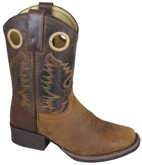 Smoky Mountain Youth Boys' Marshall Leather Western Boots - Square Toe, Brown, hi-res