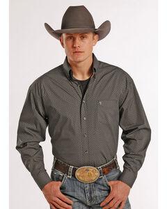 Tuf Cooper Performance Grey Poplin Print Western Shirt , , hi-res