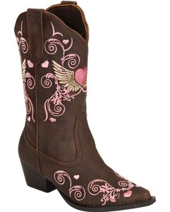 Roper Girls' Heart & Wing Embroidered Cowgirl Boots - Snip Toe, , hi-res