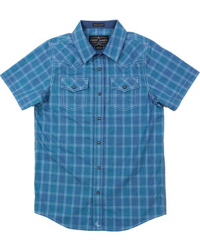 Cody James Boys' Plaid Short Sleeve Shirt , Blue, hi-res