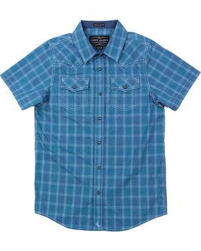 Cody James Boys' Plaid Short Sleeve Shirt , Blue, hi-res