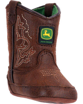 "John Deere Infant Boys' Rust 3"" Boots - Round Toe , Chocolate, hi-res"