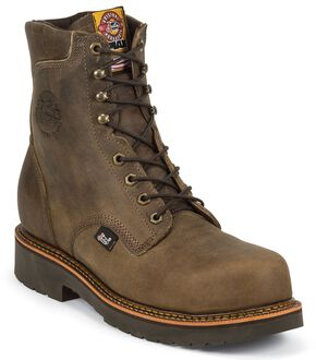 "Justin J-Max 8"" Lace-Up Work Boots - Composition Toe, Crazyhorse, hi-res"