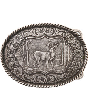 Montana Silversmiths Deer Buckle, Silver, hi-res
