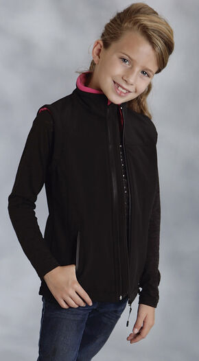 Roper Girls' Hi Tech Softshell Fleece Vest, Black, hi-res