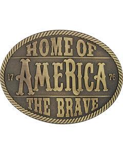 Montana Silversmiths Men's Brass Home Of The Brave Belt Buckle , , hi-res