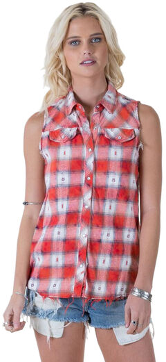 White Crow Dylan Plaid Sleeveless Top, , hi-res
