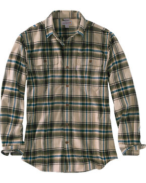 Carhartt Men's Hubbard Plaid Shirt, Army, hi-res