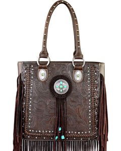 Montana West Trinity Ranch Collection Tooled Fringe Tote, , hi-res