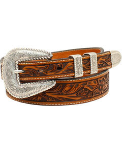 Nocona Men's  Floral Embossed 4-Piece Buckle Belt, , hi-res