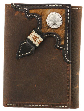 Cody James Men's Tri-Fold Hair-On Hide Wallet, Brown, hi-res